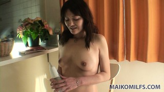 The hot mature has him fingering her hairy peach and she is craving for his cock