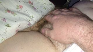 Squeezing Her Soft Chubby Hairy Mound & Soft Belly.