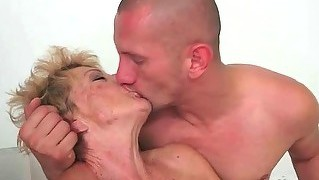 Granny Enjoys Hot Sex With Young Man