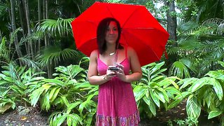 Leilani Cole Is Posing Under Her Umbrella