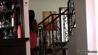With her husband downstairs, the busty ebony housewife fucks her black neighbor