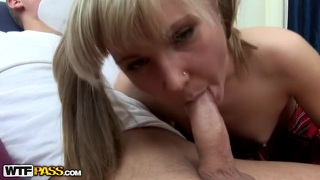 Threesome with cute blonde