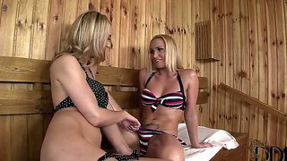 Two Sweet Blondes Kathia Nobili And Sophia Knight Kissing Sweet At The Sauna