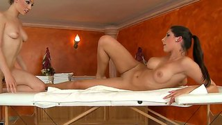 Horny Masseuse Lily Labeau Takes Advantage Of The Sexy Oiled Up Client Zafira Laying On Her Table