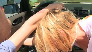 Slim Blonde Roxy Roxgives Great Blowjob In The Car