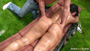 Oiled Babe Repays Her Masseur