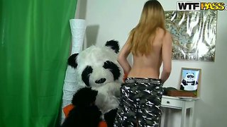 Young blonde kris gets panda's dick in her mouth and pussy