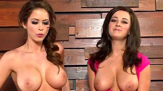 Two Brunette Whores Demonstrate Their Tits During An Interview