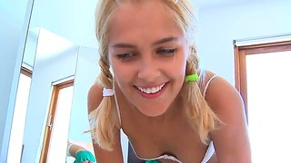 Pretty Teen Blonde Sasha In Lingerie Gets Naughty