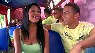 Latina Guys And Girls Fool Around In A Bus