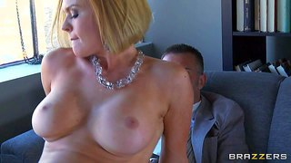 Krissy lynn uses her huge hooters and wet pussy to get the secretary job in keiran lee's office she strips down to her bare skin, exposes her big jugs and gets her fuck hole filled with his meat pole.