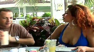 Hellena Eating With Her Boyfriend And Showing Big Boobs