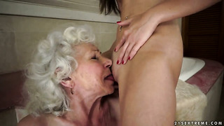 Brunette vicky braun with juicy jugs licks normas pussy like a pro  in girl-on-girl action