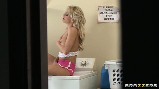 Busty blonde jills off while doing her laundry and she doesn't mind some help