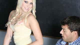 Huge cock makes the horny young student obey
