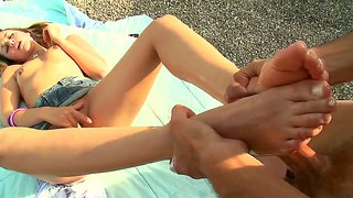 Allie Haze Using Her Feet On A Nice Day