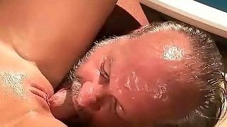 Grandpa And Hot Blonde Pissing On Each Other