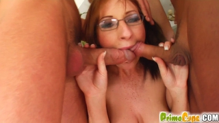 Foursome of cocks gives her tits a cum bath