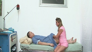 Slutty blonde cougar nurse fucked by patient