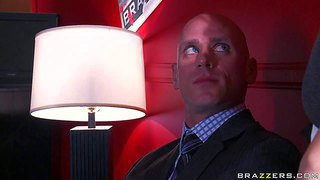 Horny and hot brunette secretary allie haze enjoys in getting down on her knees after the work and giving her boss, johnny sins a hot and sensual blowjob session in the office