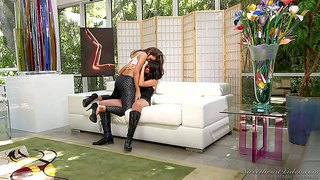 Allie haze and cassandra nix are horny for each other again. these brown haired honeys bare their natural tits and get it started in one-on-one lesbian action for your viewing enjoyment.