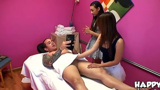 Arial Rose And Asia Zo Massage, Blow And Wank Off Cock