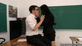 Big tit brunette vanilla deville gives her student head and a titty fuck