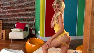Miniature beauty blonde chrissy marie is playing with her body