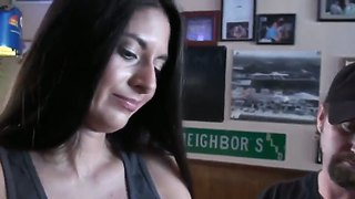 The Prepossessing Brunette Pornstar With A Beautiful Eyes Drinks A Vodka With A Fellow