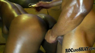 Black Bf Oils Her Gf's Sexy Ass And Fuck