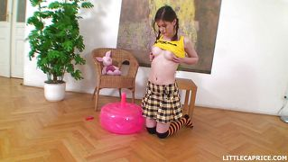 Little caprice plays with her inflatable sybian