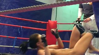 Backstage With Two Appetizing Babes Angelica Kitten And Samantha Bentley Fighting On The Ring