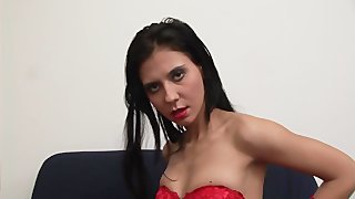 She Is Hot In Her Red Lingerie