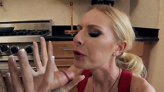 Riley evans sucks a huge horny cock in the kitchen, after lunch