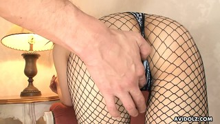 Shirosaki mai stunning fishnet stockings don't last for long cuz he wants her twat