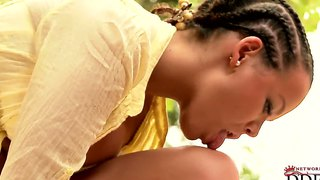 Busty Brunette Linet With Braids Teases Outdoor