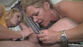 Nasty Mom Teaches The Art Of Cock Sucking To Her Lovely Girl