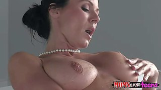 Kendra lust is a sexy dark haired mom with perfect big tits. her daughter's boyfriend catches her naked in the bathtub. he loves her melons and she loves his hard young throbbing cock.