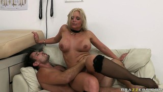 She lies back while he shoves his man meat up her butt and drops a load