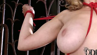 Blonde Busty Sapphire Gets Tied Up And Poses Naked