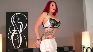 Curvaceous Redhead Paige Delight With In Ultra Sexy Lingerie Poses And Plays With Her High Heels