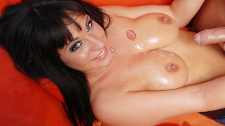 Busty and oiled up kitty bella slides on a dick