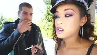 Chocolate Skin Diamond Gets Jizzed On After Eating Xander Corvus's Erect Pole