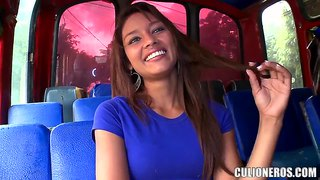 We met sexy latina in the public transport for an interview