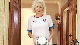 Bianca Poses In Her Soccer Team Uniform.
