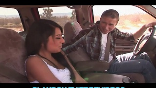 Stranded Brunette In A Mini Skirt Gets A Ride Hitchhiking