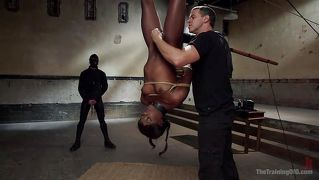 Collared Black Slave Is Hanged Upside Down