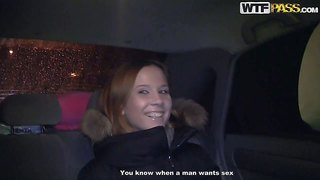 Mancy is a pretty young girl next door in the backseat of a car. this girl with charming smile gets paid to show her tits. and she shows it for money right in front of the camera!