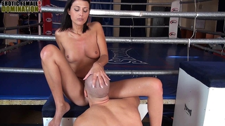 Sweet claudia smothering a man into submission