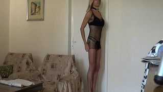 Blonde Fishnet Posing Softcore
